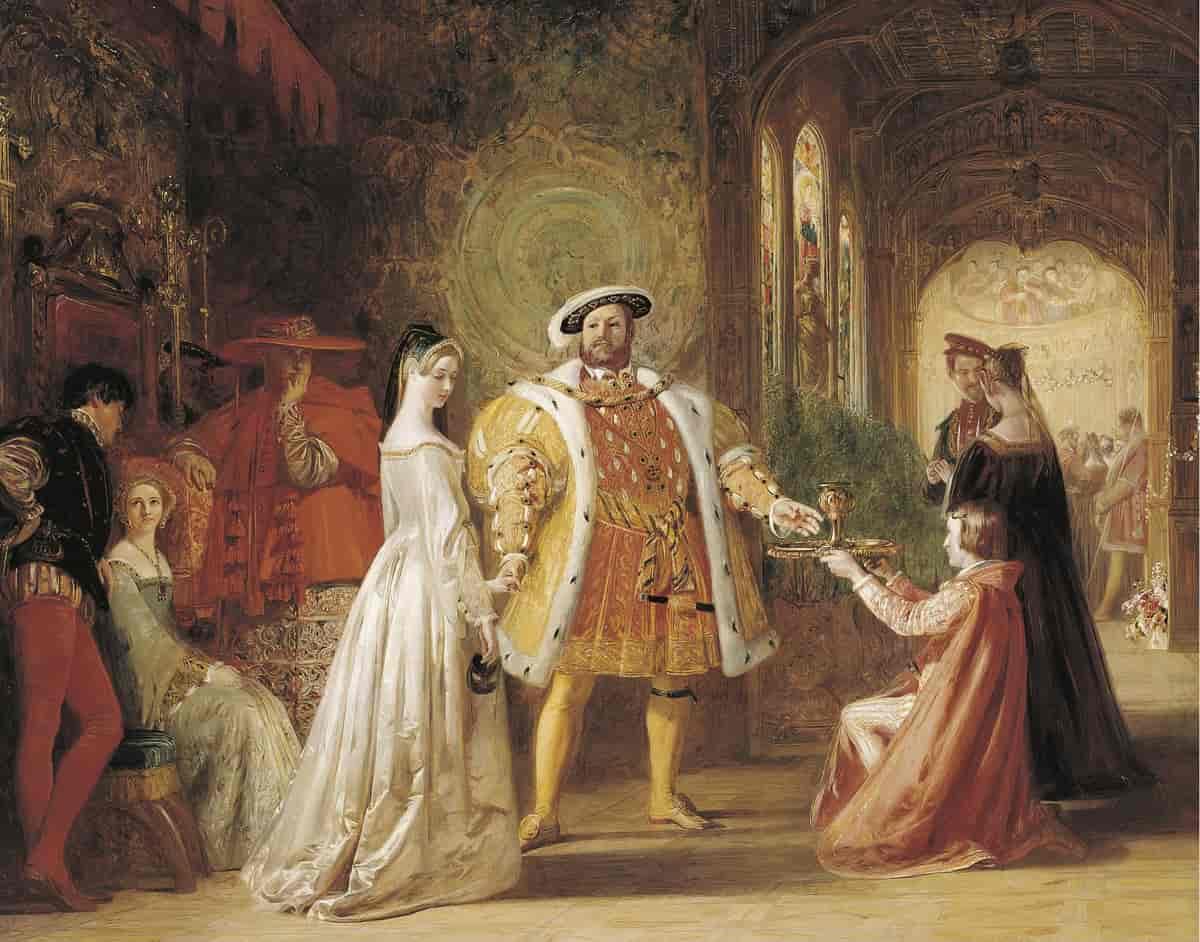 اللقاء الأول بين هنري الثامن وآن بولين لوحة تعود لعام 1835. مصدر الصورة: الموسوعة النرويجية الكبرى