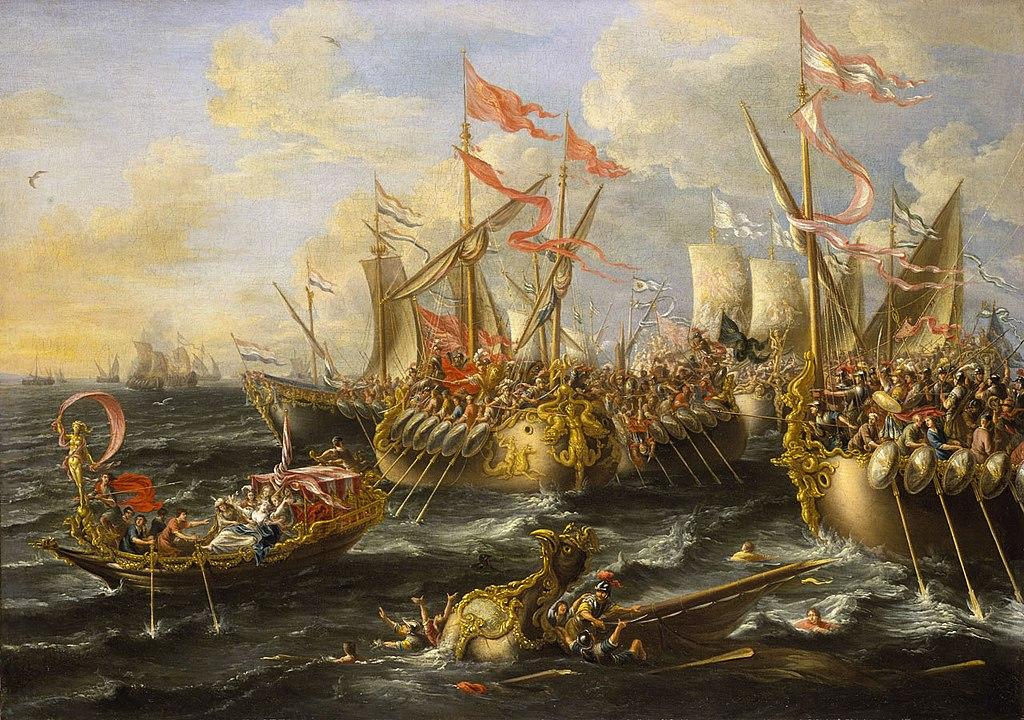 لوحة توضيحية لمعركة أكتيوم التي انتصر فيها أغسطس ودخل الإسكندرية