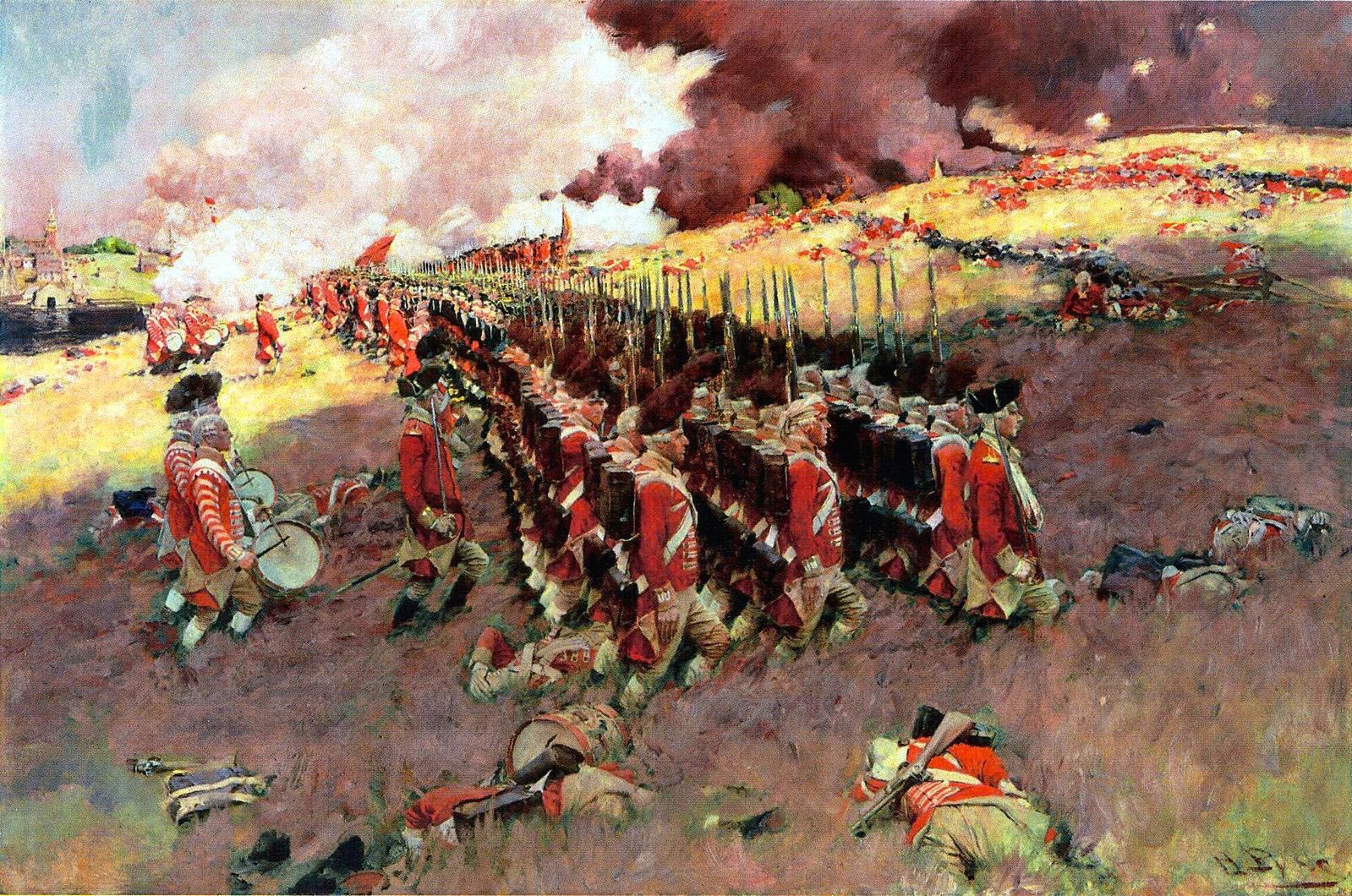 لوحة للقوات البريطانية في معركة بانكر هيل