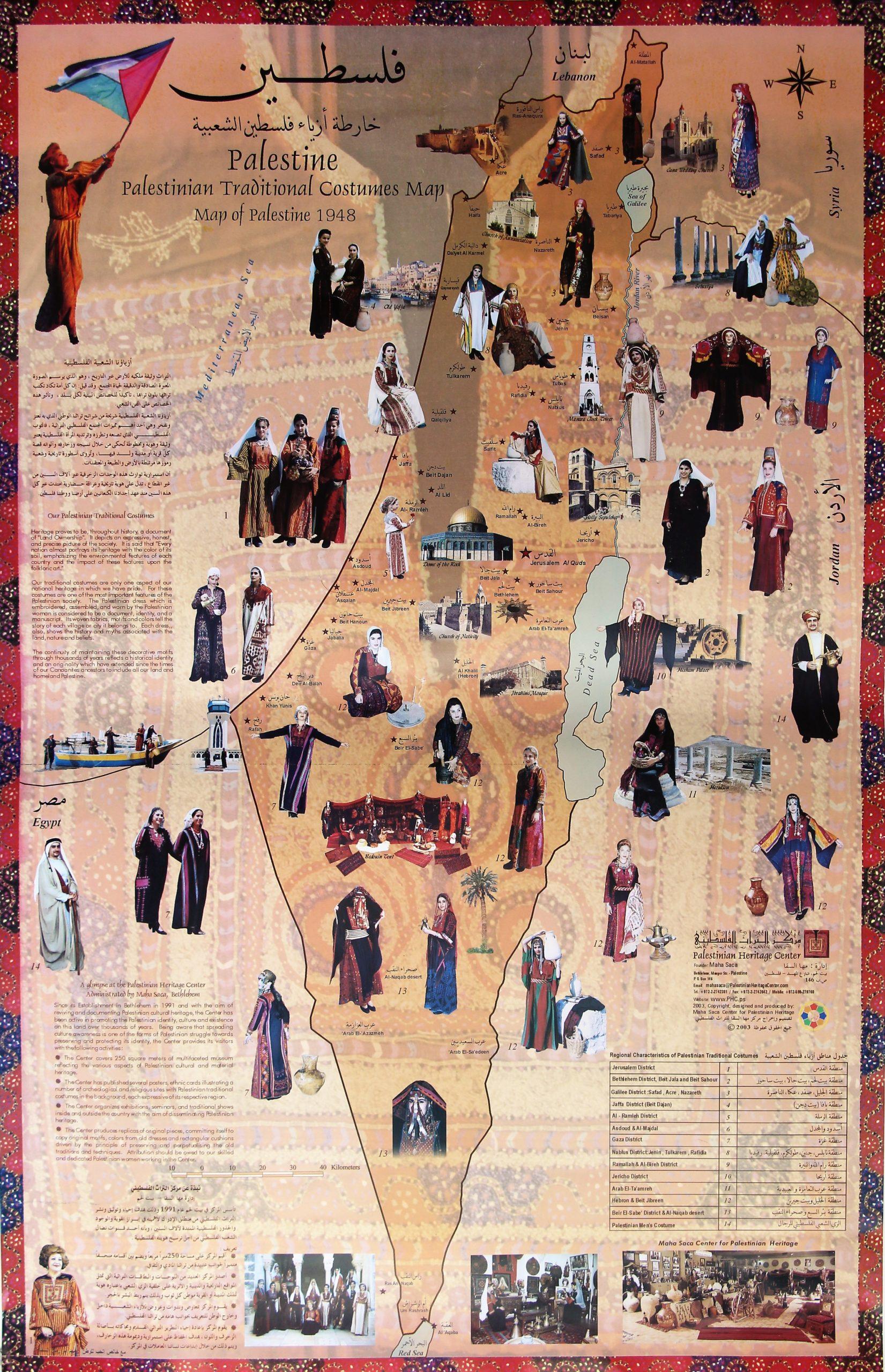 خارطة أزياء فلسطين الشعبية