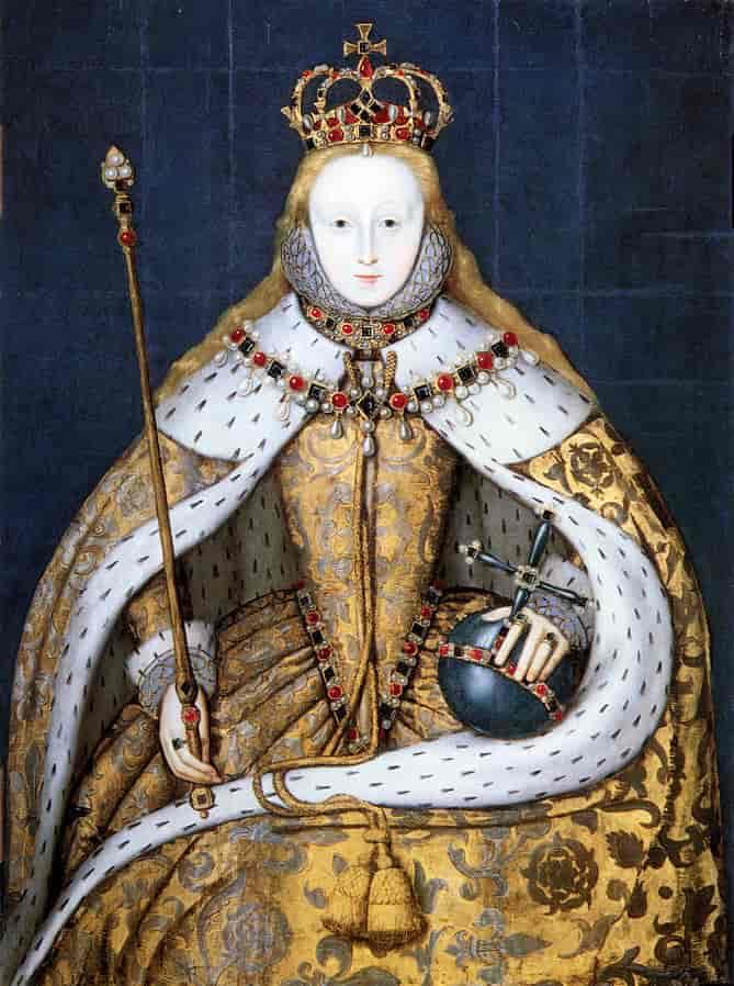 إليزابيث الأولى ابنة آن بولين في عباءة التتويج، لوحة من حوالي 1600 : الموسوعة النرويجية الكبرى