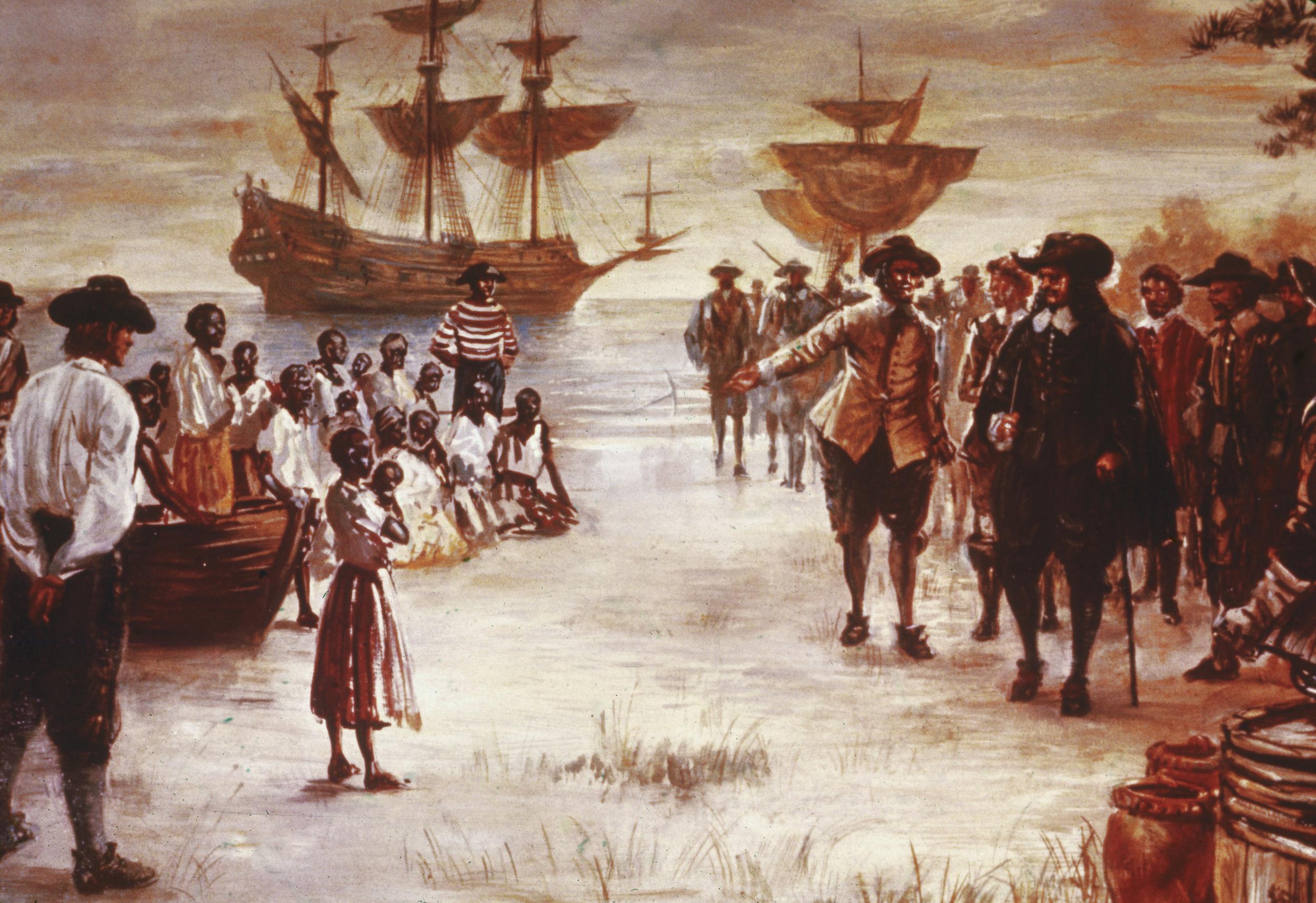 لوحة تصور سفينة تحمل عبيدًا ترسو على شاطئ فيرجينيا في عام 1619، أول أعوام العبودية في أمريكا