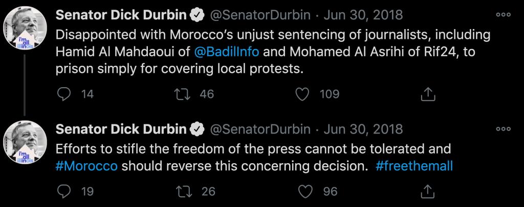 تغريدات للسيناتور الديمقراطي ديك ديربين، يندِّد فيها باعتقال صحافيين مغاربة.