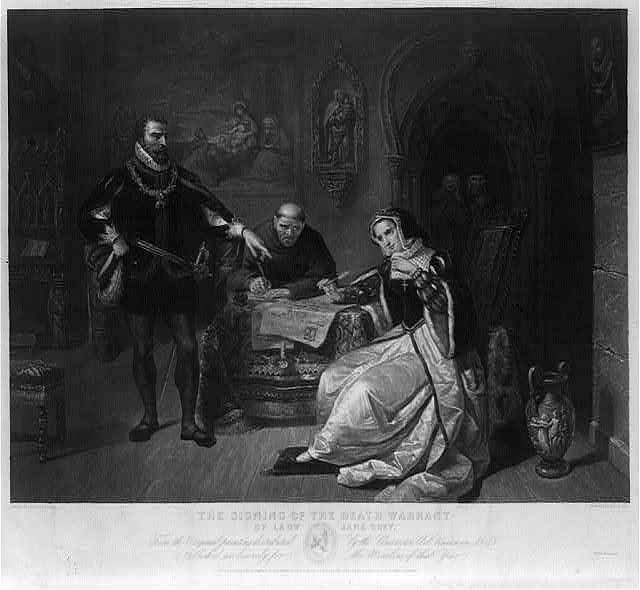 لوحة تصور محاكمة ملكة التسعة أيام جين غراي
